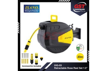 "Isano IHG-03 20M 1/2"" Auto Rewind Hose Reel"