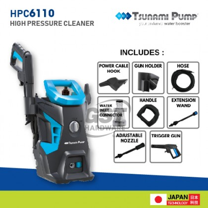 Tsunami HPC6110 Home Industrial Cleaning High Pressure Cleaner 1400W 110BAR