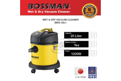 Bossman BWD-20L 1200W Vacuum Cleaner Wet and Dry | Vacum Cleaner Wet and Dry | Wet Dry Vacuum