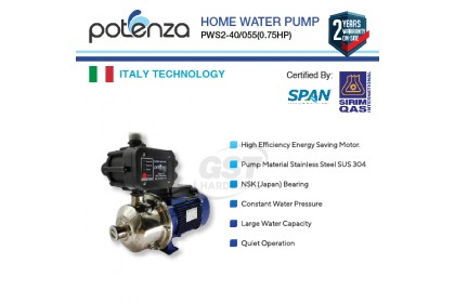 Potenza PWS2-40/055 Water Booster Pump (0.75hp)
